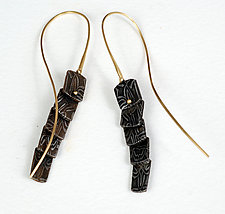 Liquid Basket Pattern Loopy Earrings by Victoria Moore (Gold & Steel Earrings)