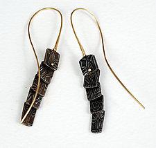 Liquid Basket Pattern Loopy Earrings by Victoria Moore (Gold & Steel Earrings)