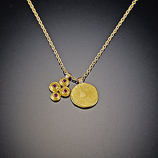 Pink Sapphire Raised Disk and Hammered Disk Gold Charm Necklace by Ananda Khalsa (Gold & Stone Necklace)