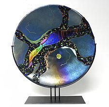 Tourmaline Moon by Karen Ehart (Art Glass Sculpture)