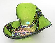 Peridot Moon Crazy Heart Bowl by Karen Ehart (Art Glass Bowl)