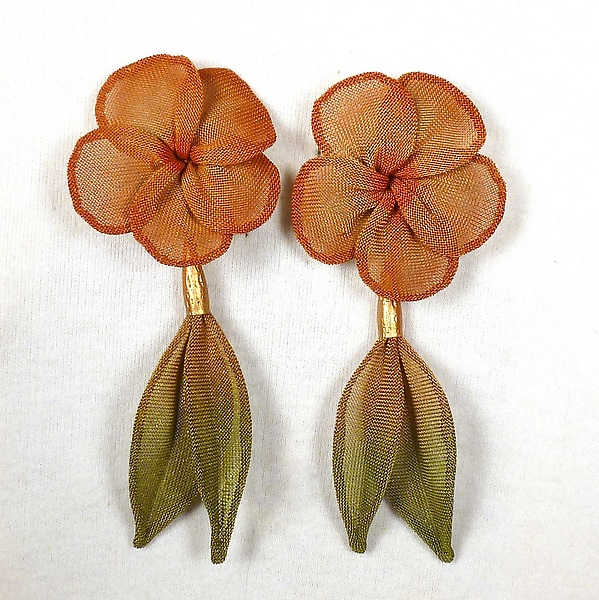 Plumeria Bloom with Leaf Dangle Earrings