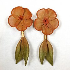 Plumeria Bloom with Leaf Dangle Earrings by Sarah Cavender (Metal Earrings)