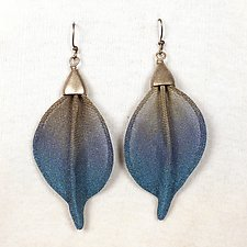 Extra Large Twist Leaf Earrings by Sarah Cavender (Metal Earrings)