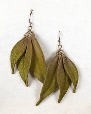 Three Leaves Dangle Earrings by Sarah Cavender (Metal Earrings)