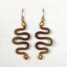 Squiggle Snake Dangle Earrings by Sarah Cavender (Metal Earrings)
