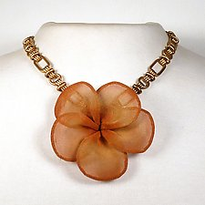 Large Plumeria Blossom Necklace by Sarah Cavender (Metal Necklace)