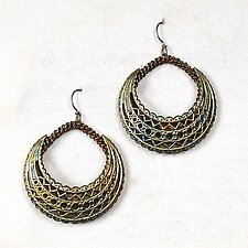 Filigree Cutout Puffy Hoop Earrings by Sarah Cavender (Metal Earrings)