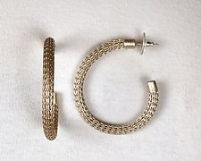 Large Thin-Wire Knit Hoop Earrings by Sarah Cavender (Metal Earrings)