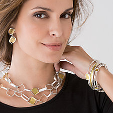 Bouncing Links Necklace & Earrings by Sana  Doumet (Gold & Silver Jewelry)