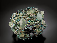 Stone Woven Cuff - Seafoam and Jade by Julie Powell (Beaded Cuff)