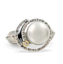 Spiral Pearl Ring by Connie Ulrich (Silver & Pearl Ring)