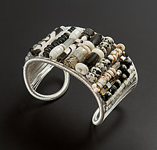 Black and White Small Bead Woven Cuff by Tana Acton (Silver & Stone Cuff)