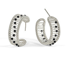 Kinetic Hoops with Onyx by Tana Acton (Silver & Stone Earrings)