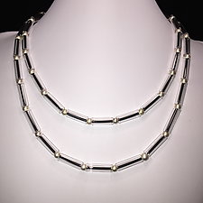 Clear Tube Bead Necklace by Eloise Cotton (Art Glass Necklace)