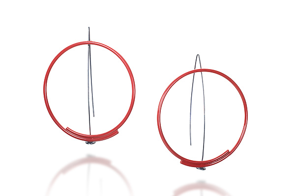 Large Circle Earrings in Red