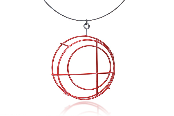 Small Structural Circle Necklace in Red
