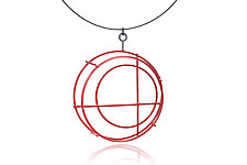 Small Structural Circle Necklace in Red by Donna D'Aquino (Silver Necklace)