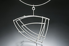 Large Structural Triangle Necklace by Donna D'Aquino (Silver Necklace)
