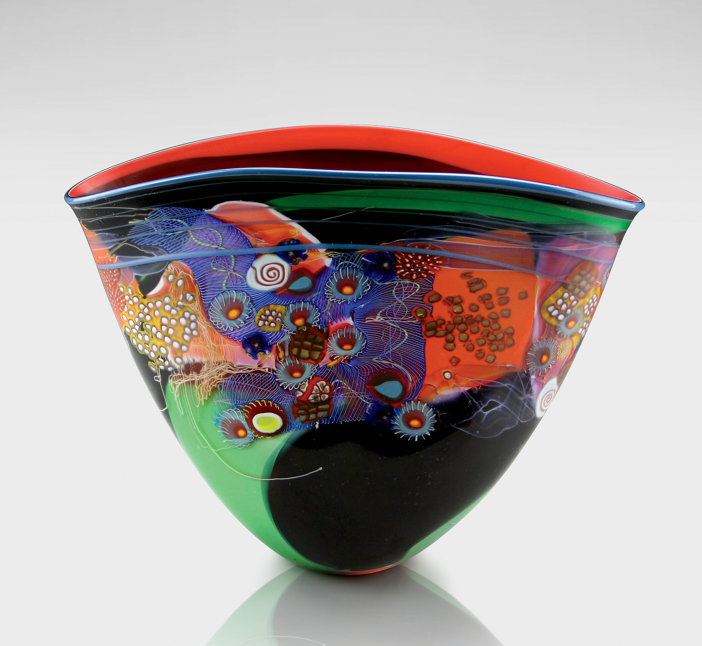 Black Color Field Vase With Red And Green By Wes Hunting