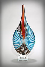 Aqua and Tan Nautilus by Michael  Hermann and Gina Lunn (Art Glass Sculpture)