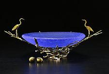 Sandhill Nest Bowl in Blue by Georgia Pozycinski and Joseph Pozycinski (Art Glass & Bronze Sculpture)