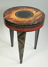 Eclipse Round Table by Ingela Noren and Daniel  Grant (Wood Side Table)