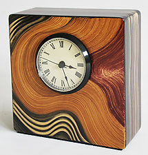 Honey Swirl Table Clock by Ingela Noren and Daniel  Grant (Wood Clock)