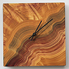 Land, Square Wall Clock by Ingela Noren and Daniel  Grant (Wood Clock)