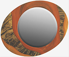 Funnel Tigerstripe Asymmetric Mirror by Ingela Noren and Daniel  Grant (Wood Mirror)