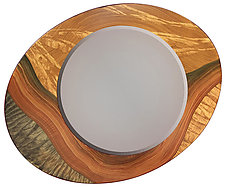Land Asymmetric Mirror by Ingela Noren and Daniel  Grant (Wood Mirror)