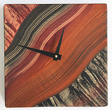 Tiger River Wall Clock by Ingela Noren and Daniel  Grant (Wood Clock)
