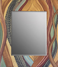 Leaves Of Grass Mirror by Ingela Noren and Daniel  Grant (Wood Mirror)
