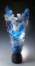 Blue Monument by Caleb Nichols (Art Glass Sculpture)