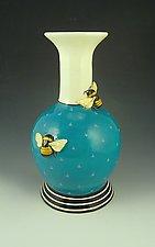 2 Bee Turquoise Vase by Lisa Scroggins (Ceramic Vase)