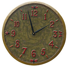 Little Wings Ceramic Wall Plate in Moss Green, Red, and Yellow by Beth Sherman (Ceramic Clock)