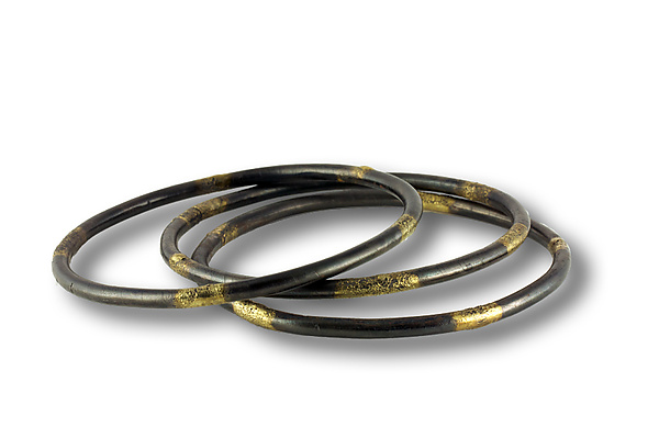 Steel and Gold Bangle with Patina