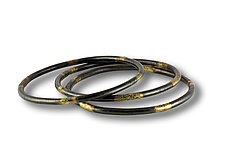 Steel and Gold Bangle with Patina by Susan Ronan (Gold & Steel Bracelet)