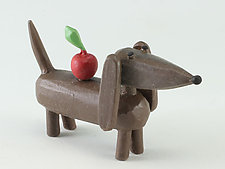 Dachshund with Apple by Hilary Pfeifer (Wood Sculpture)