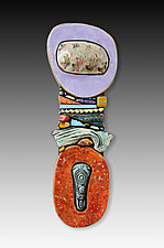 Large Wall Totem - Vision by Cathy Gerson (Ceramic Wall Sculpture)