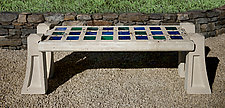 Jewels of the Sea Skylight Bench with Small Squares by Terence S. Dubreuil (Art Glass & Concrete Bench)