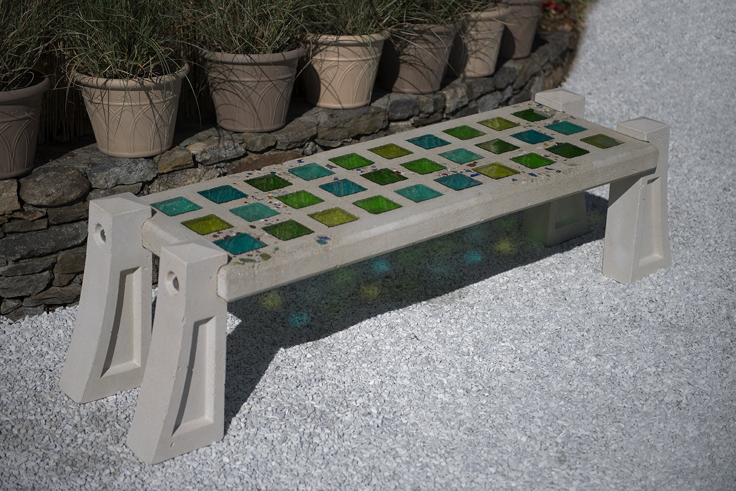 Rain Forest Greens Skylight Bench With Small Squares By Terence S. Dubreuil  (Art Glass U0026 Concrete Bench) | Artful Home
