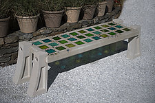 Rain Forest Greens Skylight Bench with Small Squares by Terence S. Dubreuil (Art Glass & Concrete Bench)
