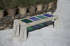 Medium Skylight Bench with Large Tiles by Terence S. Dubreuil (Art Glass & Concrete Bench)