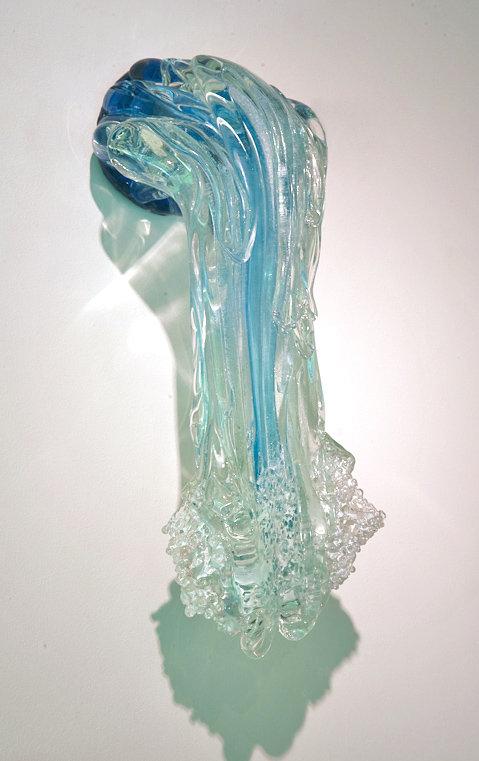 Aqua Blue Waterfall By Ian Whitt Art Glass Wall Sculpture