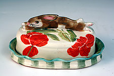 Butter Dish with Rabbit by Peggy Crago (Ceramic Butter Dish)