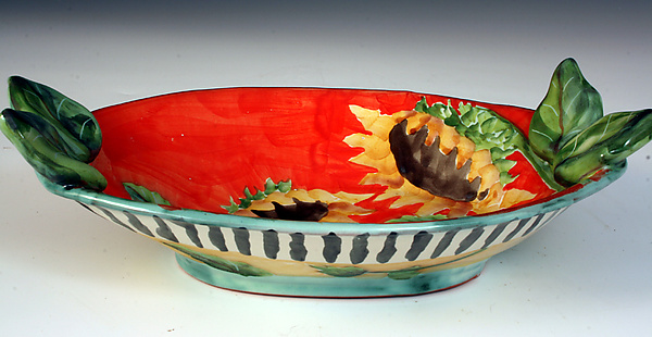 Oval Bowl with Leaves and Sunflowers