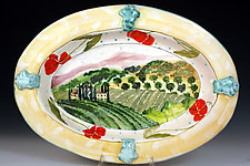 Tuscany Oval Platter by Peggy Crago (Ceramic Platter)