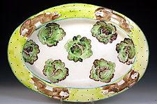 Rabbit & Lettuce Oval Platter by Peggy Crago (Ceramic Platter)