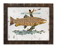 Fly Fishing Collection: Brown Trout (Collage) by Dolan Geiman (Mixed-Media Wall Art)